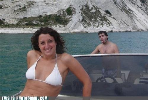Awkward,babes,bikini,boat,danger,driving,photobomb,zombie