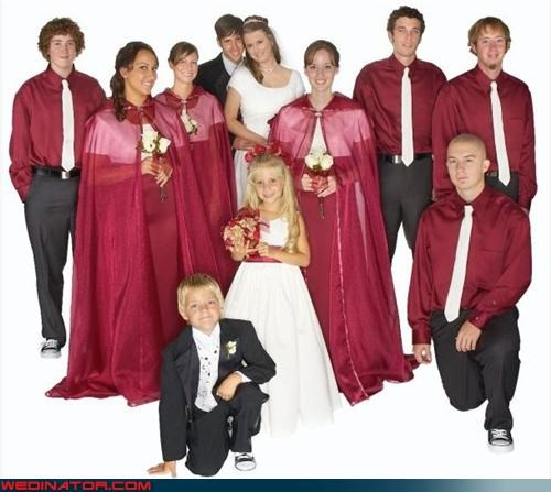 cape,Crazy Brides,crazy groom,fashion is my passion,funny bridesmaids picture,funny wedding photos,little red bridesmaid hood,red and white color scheme,tacky,ugly bridesmaid dresses,wedding party,Wedding Themes,wtf,wtf is this