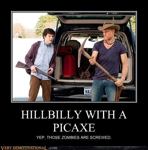cardio,guns,pickaxe,Pure Awesome,woody harrelson,Zombieland,zombie