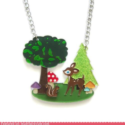 accessories,accessory,deer,necklace,trees,woodland creatures