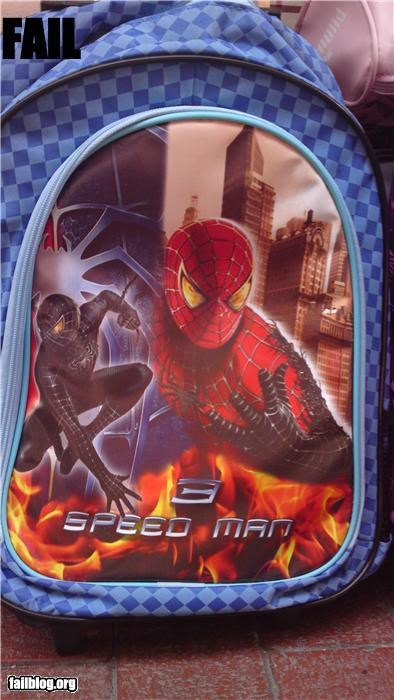 backpacks,Brand Name FAILs,failboat,g rated,knock offs,speed,Spider-Man,superhero