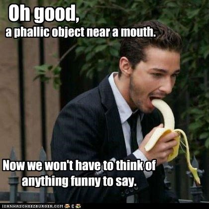 a phallic object near a mouth.