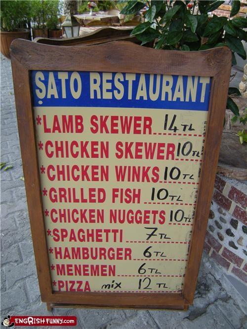 food,restaurant,sign,wink