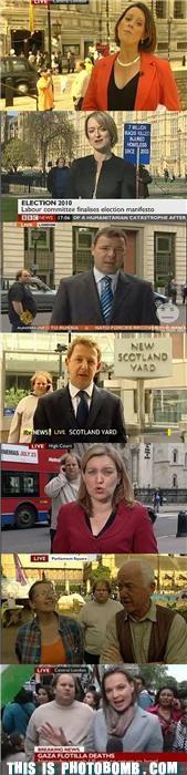 awesome,bbc,compilation,england,news,photobomb,serial bomber,Street Bomb,UK