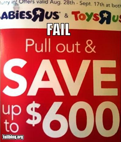 Ad,birth control,failboat,Hall of Fame,innuendo,pull out,sales,toy r us