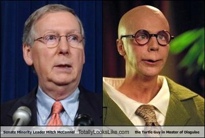 Senate Minority Leader Mitch McConnel  Totally Looks Like the Turtle Guy in Master of Disguise
