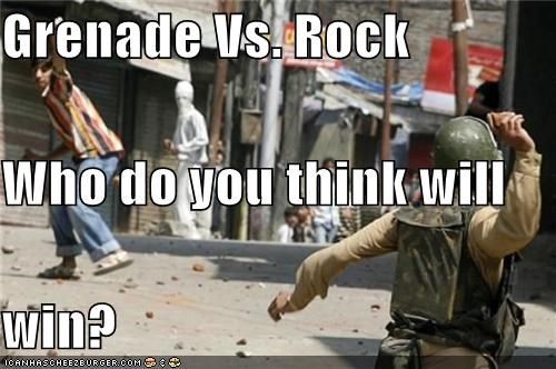 Grenade Vs. Rock Who do you think will  win?