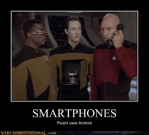 android,data,Geordi Laforge,jean-luc picard,puns,Pure Awesome,smart phones,space,Star Trek,technology,TNG