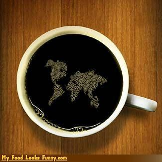 bubbles,coffee,continents,drink,global warming,map,shopped