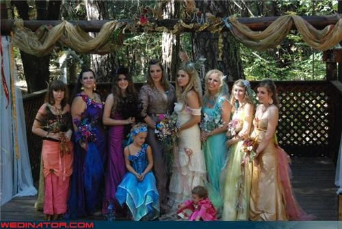 bridesmaids,Crazy Brides,fairies,fairy bride,fairy bridesmaids,fairy themed wedding,fashion is my passion,funny wedding photos,mismatched bridesmaids,Pirates of the Caribbean,tacky,wedding party,Wedding Themes,wtf
