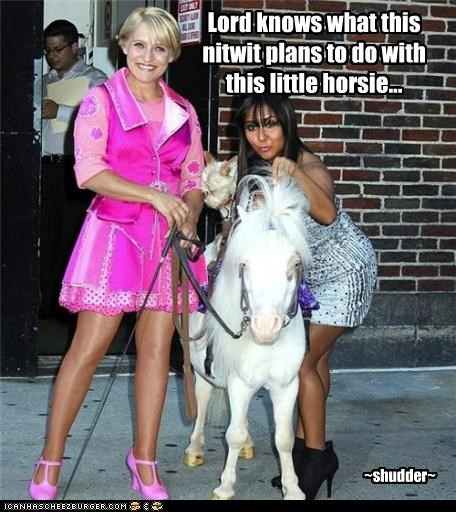 Lord knows what this nitwit plans to do with this little horsie...