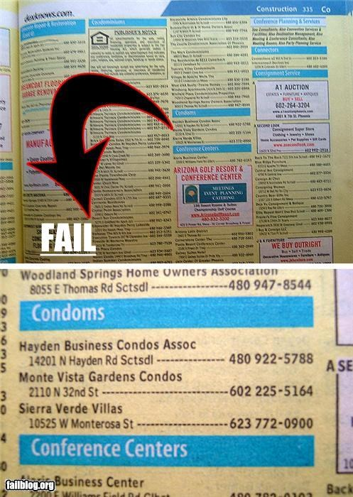 condoms,condos,failboat,listings,spelling,yellow pages
