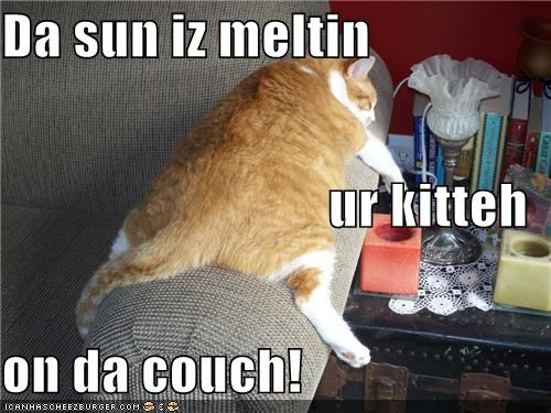 Da sun iz meltin  ur kitteh on da couch!