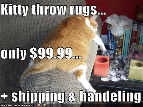 Kitty throw rugs... only $99.99... + shipping & handeling