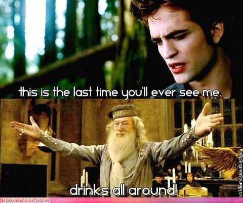 Albus Dumbledore,comixed,drinking,edward cullen,Harry Potter,Michael Gambon,movies,robert pattinson,sci fi,twilight