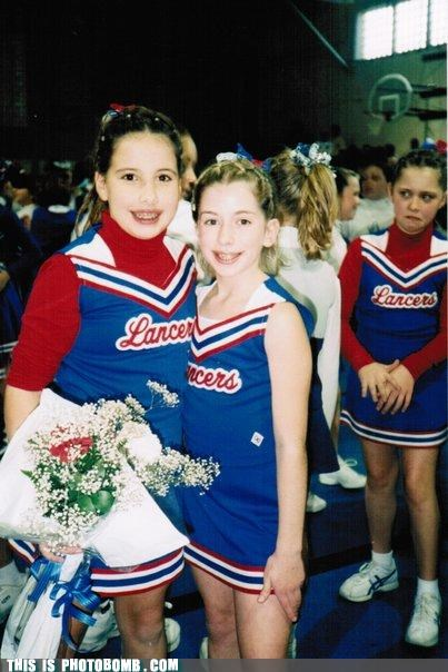 cheerleaders,funny face,Kids are Creepers Too,photobomb,school,sports
