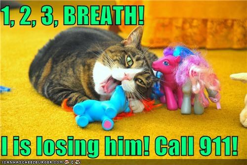 1, 2, 3, BREATH!  I is losing him! Call 911!