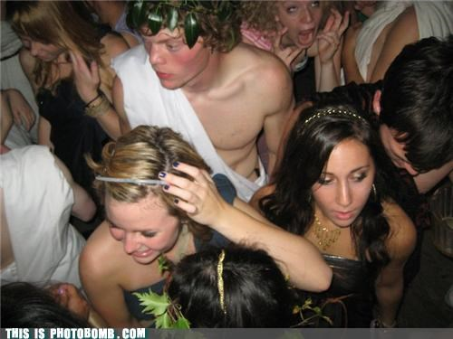 college party,Impending Doom,Party,photobomb,toga,uncomfortable