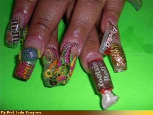 acrylic,candy,fake,fingers,gross,hands,nails,snacks,Sweet Treats,trashy