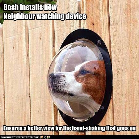 Bosh installs new  Neighbour watching device