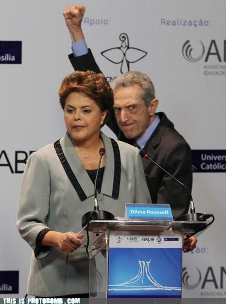 Brazillian Elections,celeb,Celebrity Edition,Dilma Roussef,old people,photobomb,Plinio Arruda Sampaio,politics