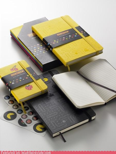 anniversary,cute-kawaii-stuff,limited edition,moleskine,notebooks,Office,old,pac man,stationary