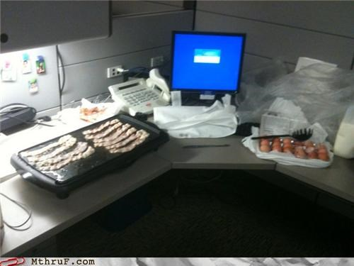 bacon,cooking,desk,late