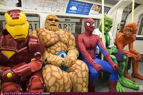 costume,hulk,in this economy,iron man,Spider-Man,superheros,The Thing,wtf