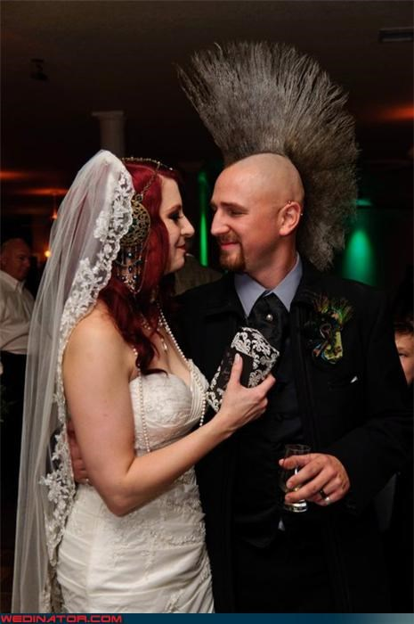 amazing groom mohawk,best mohawk on a groom ever,cool groom hair,crazy groom,fashion is my passion,funny wedding photos,groom mohawk,mohawk,ornate headpiece,were-in-love