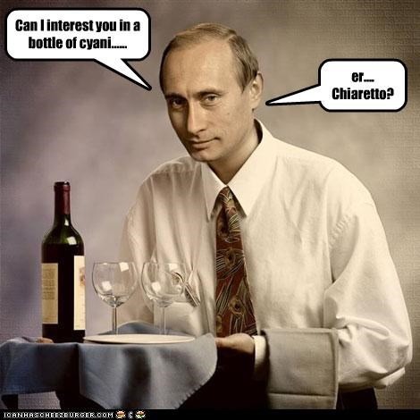 Can I interest you in a bottle of cyani......