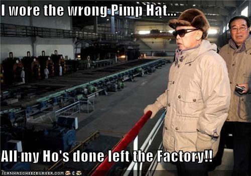 dicatators,factory,fashion,hats,ho,Kim Jong-Il,North Korea,pimp