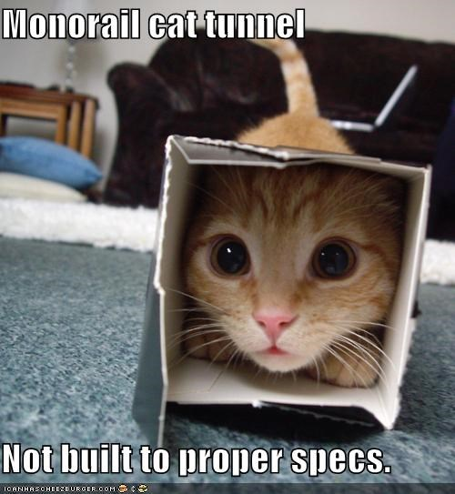 Monorail cat tunnel  Not built to proper specs.