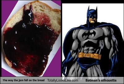 The way the jam fell on the bread Totally Looks Like Batman's silhouette
