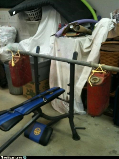 barbell,exercise equipment,gas tanks,Kludge,weights