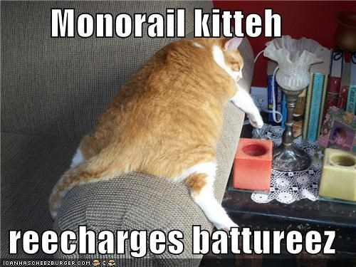 Monorail kitteh   reecharges battureez