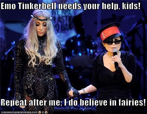 Emo Tinkerbell needs your help, kids!  Repeat after me; I do believe in fairies!