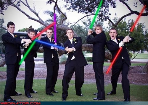 crazy groom,fashion is my passion,funny wedding photos,groom,groom holding a light saber,groomsmen light sabers,light saber,star wars,star wars themed wedding,star wars wedding,star wars wedding party,themed wedding picture,wedding party,Wedding Themes