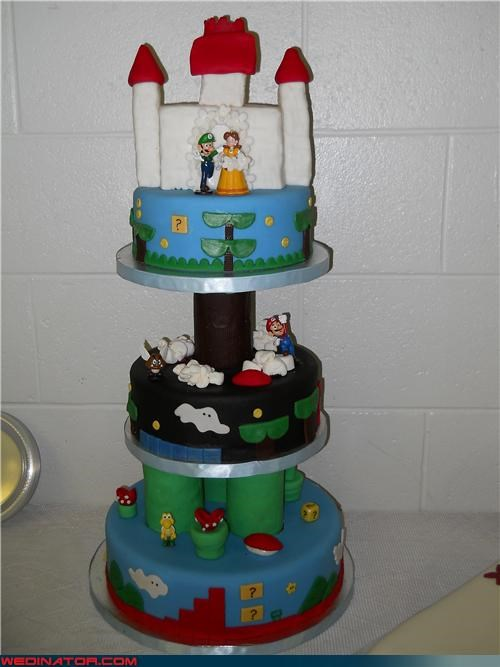 awesome wedding cake,bride,Dreamcake,fondant,funny wedding photos,groom,Luigi and Daisy,Mario cake,super mario cake,themed wedding cake,were-in-love,Wedding Themes