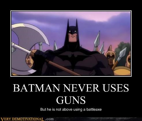 BATMAN NEVER USES GUNS