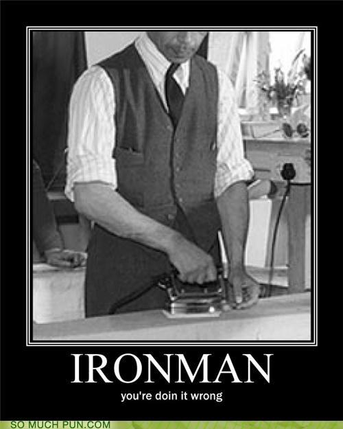 chores,doing it wrong,iron man,ironing,sidekick,war machine