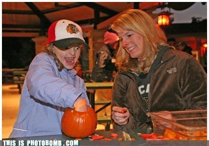 awesome,death gaze,halloween,kids,photobomb,pumpkins