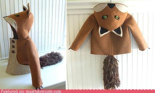 animal,clothing,coat,costume,cute,fox,hood,kids,winter