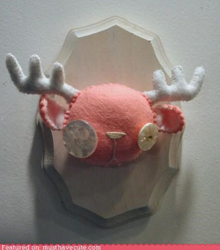 art,buttons,felt,handmade,stuffed,taxidermy,wall hanging