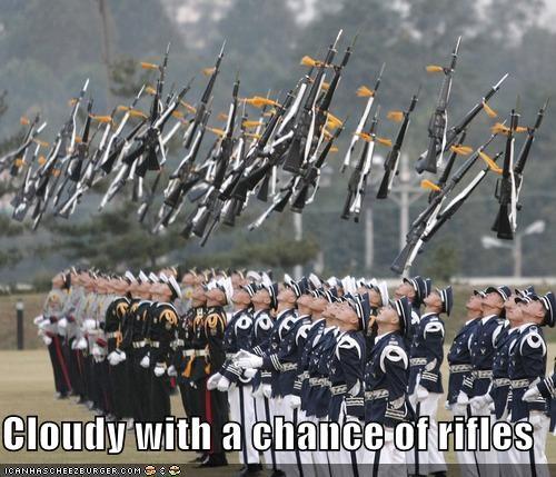 falling,guns,military,rain,rifles,soldiers,weather