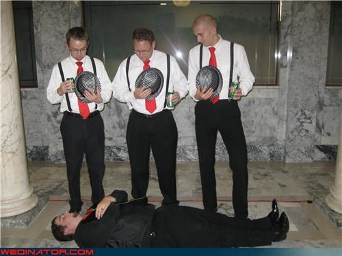 barbershop quartet,dead groom,fashion is my passion,funny groom picture,funny wedding photos,groom,groom fakes death by marriage,Groomsmen,interesting groomsmen fashion,matching groomsmen,shiny hats,technical difficulties,wedding party