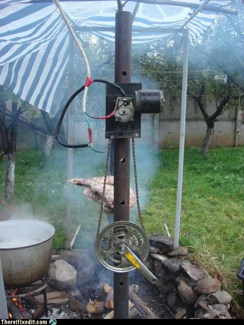 chicken,cooking pit,fire,rotisserie