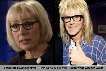 Icelandic News reporter Totally Looks Like Garth from Waynes world