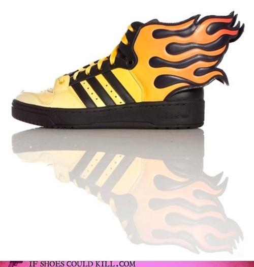 fire,flames,jeremy scott,orange,sneakers,stunt man