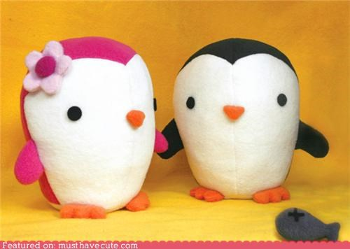 animals,boy,chivalry,fish,girl,penguins,Plush,romance