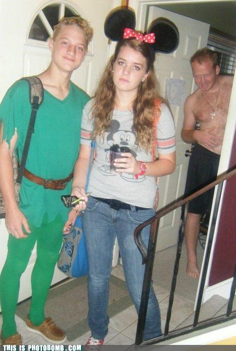costume,creeper,disney,minnie mouse,peter pan,photobomb,sexy times